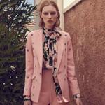 Fashion Pink Button Sexy Long Sleeve V-neck Jacket