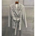 Slim Belt Pleated High Street Fashion Long Sleeve Jacket