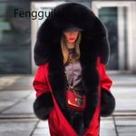 Fur Collar Outerwear Thick Warm Hooded Coat