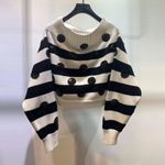 wool embroidered sequins wide stripes fashion sweater