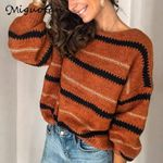 striped long sleeve knitted sweaters