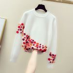 Loose Embroidered Crochet Three-dimensional Flowers Sweater