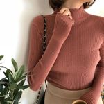 High Elastic Solid Sexy Knitted Slim Sweater