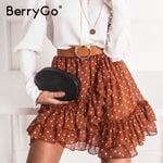 Elegant polka dot print mini skirts