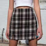 Classic Grey-white Plaid Preppy Style Casual Mini Skirt