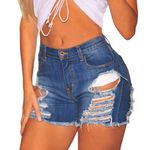 Ripped High Waist Sexy Short Denim