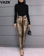 Fashion Sexy Print Leather Slim Skinny Pants