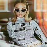 Basic Newspaper Pattern Print Bodysuit