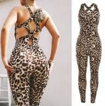 quick-drying leopard stretch fitness yoga Jumpsuits