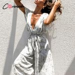chiffon sexy casual deep v bow white jumpsuit