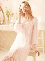 Princess Long Soft Modal  Pink and White Sleepwear