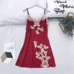 Burgundy Lace Mini Sexy Bride Sleepwear