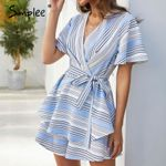 Sexy v-neck Striped ruffled backless Rompers