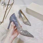 Bling Pumps Pointed Toe Slip On Thin High Heel