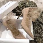 Luxury Pumps Pointed Toe Mesh Heels