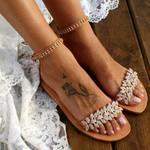 Flat Flowers Beaded Open Toe Shoes Sandals