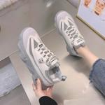 Leopard Breathable Mesh Silver Platform Ladies Sneakers