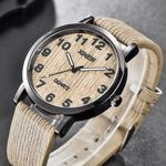 Texture Imitation Leather Band Buckl Wood Watches