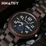 Day and Date Quartz Fashion Wood Watches
