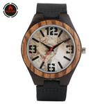 Vintage Marble Pattern Brown Ebony Wooden Watch