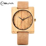 Unique Creative Square Round Dial Leather Wood Watches