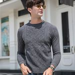 Casual O-Neck Pullover Slim Fit Long Sleeve Sweaters