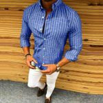Long Sleeve Striped Luxury Slim Dress Shirts