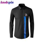 Warrior Sign Embroidery high quality Casual Slim Dress Shirts