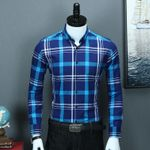 Casual Silm fit Long Sleeve Plaid Dress Shirts
