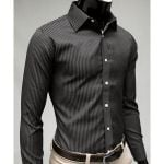 Stripe Long Sleeve Casual Slim Dress Shirts