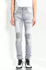 ribbed patch distressed skinny grey jean