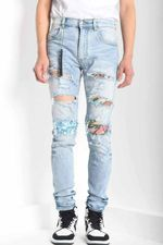 art ribbed patch skinny distressed lt blue jeans