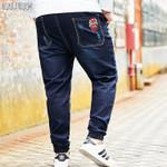 Cotton waist long loose Jeans