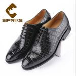 Real Crocodile Skin Lace Up Oxford Shoes