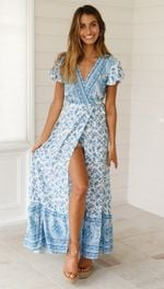 Floral Print Long Maxi Chiffon Boho Dress