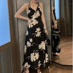 Long Black Floral Backless Boho Bohemian Dress