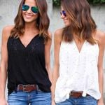 Sweet Lace Casual V Neck Boho Bohemian Tops