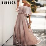 Off shoulder pleated long dress