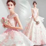 Scoop Neck Short Sleeves Flower Ruffle Dresses