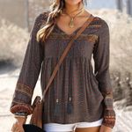 Vintage Long Sleeve V Neck Boho Bohemian Blouse