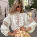 Hollow Out High Quality Puff Sleeve Boho Bohemian Blouse