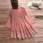 Fashion Lace Linen V Neck Boho Bohemian Blouse