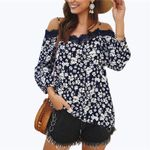 Floral Off Shoulder Lace Elegant Boho Bohemian Blouse