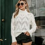 Casual turtleneck long sleeve hollow out boho sweater