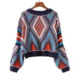 Cropped O Neck Lantern Sleeves Knitted Boho Sweaters