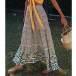 Vintage Floral Printing Ruffle Boho Bohemian Skirts