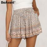 Casual Floral Print Elastic Waist Boho Bohemian Shorts