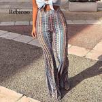 Striped Printed High Elastic Waist Vintage Boho Bohemian Pants