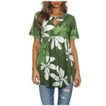 V Neck Short Sleeve Crisscross Front Floral T-shirts