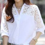Casual New white Cotton Lace Blouses